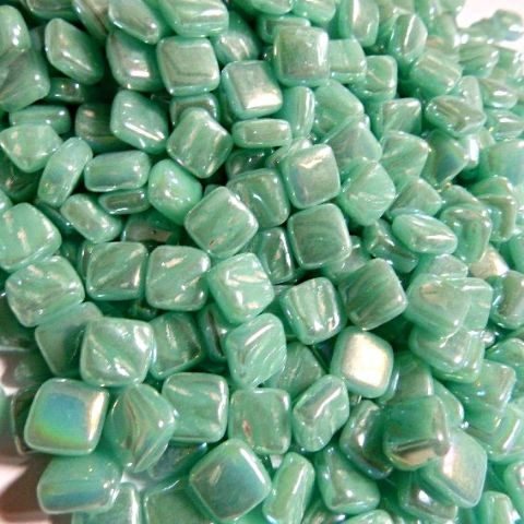 8mm Square Tiles - Jade Green Pearlised - 50g